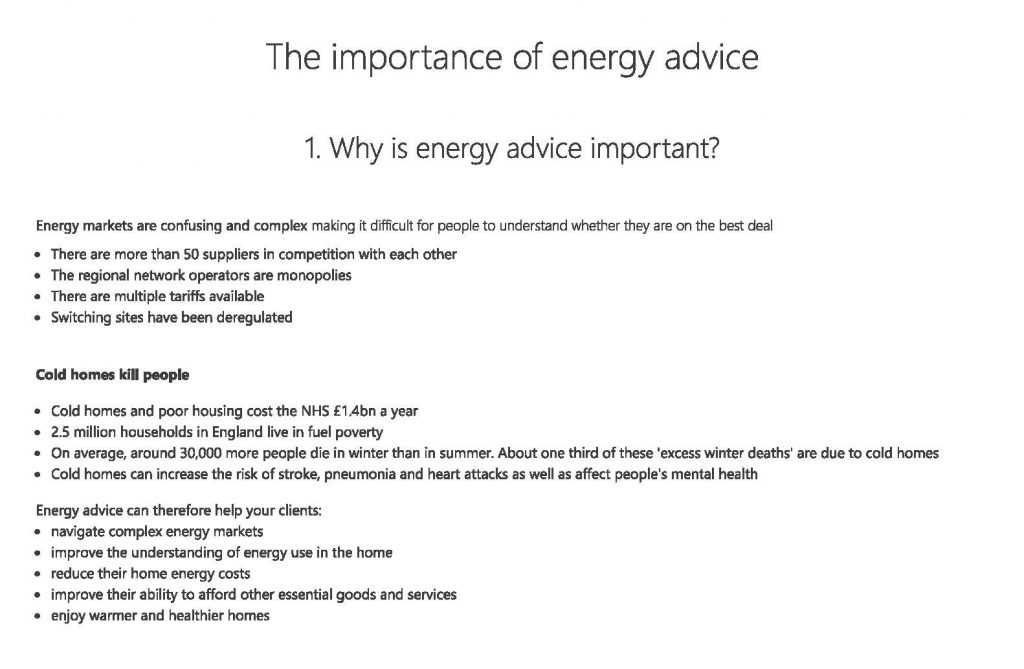 Why is energy advice important?